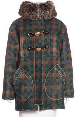 Miu Miu Fur-Trimmed Plaid Coat