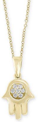 "Effy D'Oro by Diamond Accent Hamsa Hand 18"" Pendant Necklace in 14k Gold"
