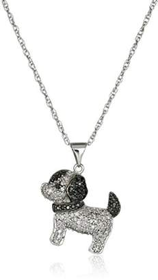 Black Diamond Sterling Silver White and Puppy Dog Pendant Necklace (1/2 cttw)