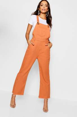 boohoo Tobacco Horn Button Deni Dungaree