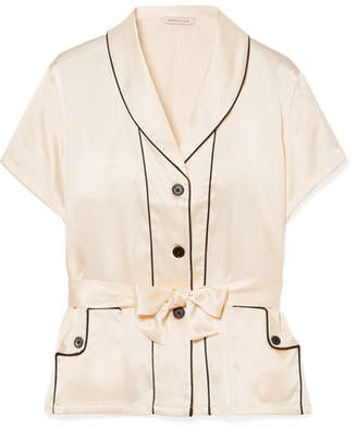 Morgan Lane - Charlotte Belted Silk-charmeuse Pajama Top - Ivory
