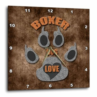 Breed 3dRose Boxer Dog Love Dog in Gray and Brown, Wall Clock, 15 by 15-inch