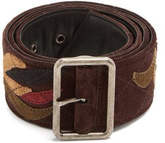 Saint Laurent Floral Applique Suede Belt - Womens - Brown
