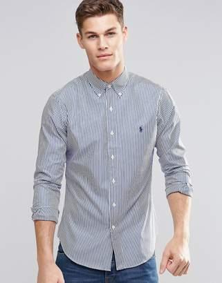 Polo Ralph Lauren Stripe Shirt In Slim Fit Blue