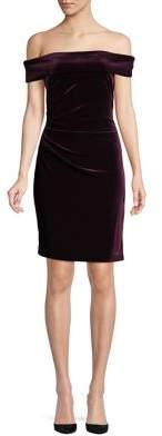 Vince Camuto Off-The-Shoulder Velvet Sheath Dress