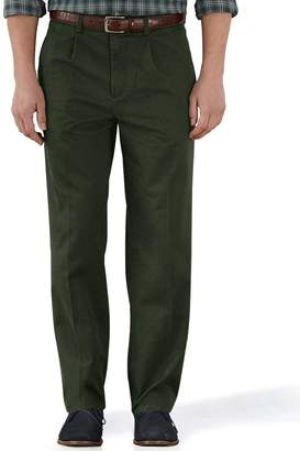 Charles Tyrwhitt Dark Green Classic Fit Single Pleat Weekend Cotton Chino Pants Size W32 L32