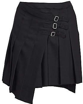 McQ Women's Asymmetric Pleated Wool Mini Skirt