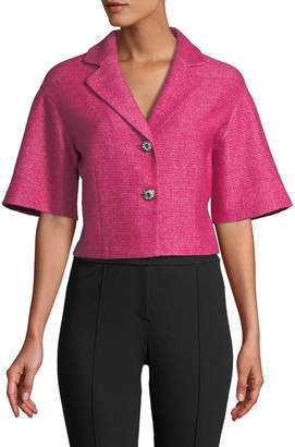 St. John Jayesh Knit Half-Sleeve Cropped Jacket