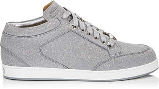 Jimmy Choo MIAMI Silver Mix Fine Glitter Leather Trainers