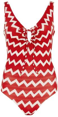 Stella McCartney Swim Drawstring Tunnels Printed Swimsuit