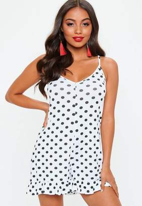 Missguided White Monochrome Polka Dot Frill Playsuit