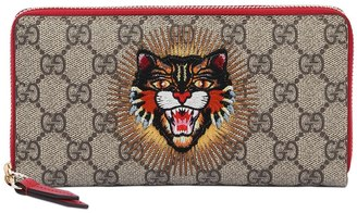 Gucci Angry Cat Gg Supreme Zip Around Wallet