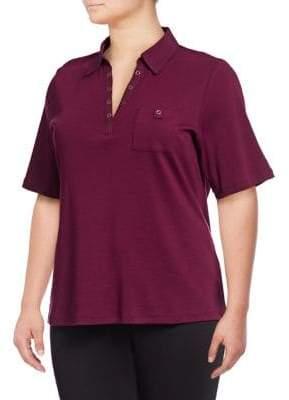 1a4ac003857 Karen Scott Plus Cotton Spread Collar Top