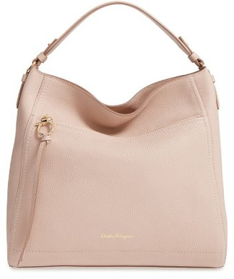 Salvatore Ferragamo Calfskin Leather Hobo - Beige $1,350 thestylecure.com