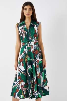 Closet Womens Tropical Wrap Midi Dress with Belt - Green