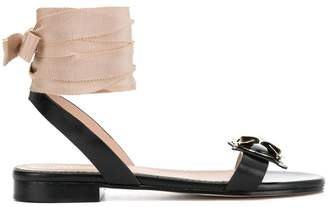 RED Valentino bee embellished ankle tie sandals