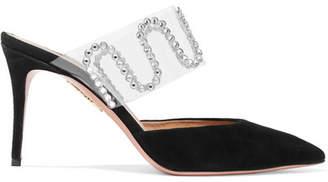 Aquazzura Sabine Getty So Sabine Crystal-embellished Suede And Pvc Mules - Black
