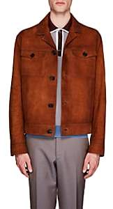 Prada Men's Suede Button-Front Jacket - Brown