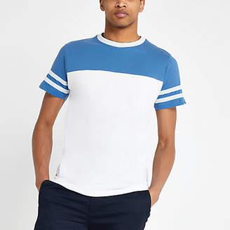 River Island Bellfield white colour block T-shirt