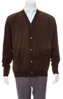 Hermes Suede-Accented Button-Up Cardigan