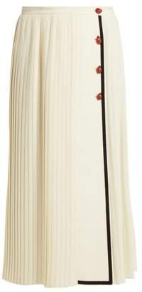 Gucci Gardenia Pleated Wool Crepe Skirt - Womens - White