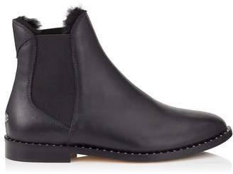 Jimmy Choo MERRIL FLAT Black Leather Ankle Boots with Black Shearling