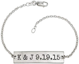 FINE JEWELRY Personalized Couples Initials and Date Sterling Silver Bar Bracelet