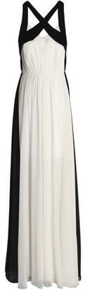 Halston Two-Tone Gathered Chiffon Gown
