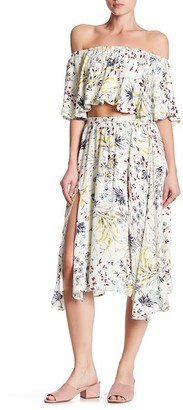 Lucca Couture Front Slit Floral Midi Skirt $52.50 thestylecure.com