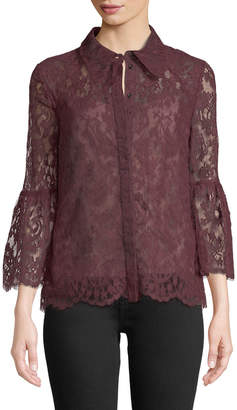 Erdem Alita Button-Front Bell-Sleeve Lace Top