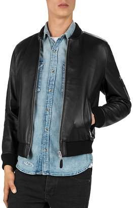 The Kooples Lamb-Leather Bomber Jacket