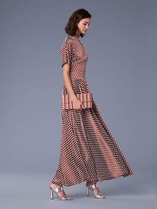 Diane von Furstenberg Short-Sleeve Raglan High Neck Satin Blouse