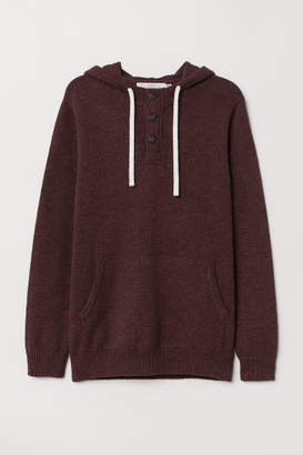 H&M Hooded Sweater with Buttons - Red