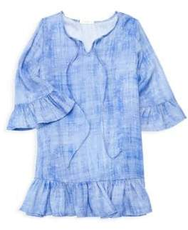 Little Girl's & Girl's Ruffled Hem Bell-Sleeve Dress