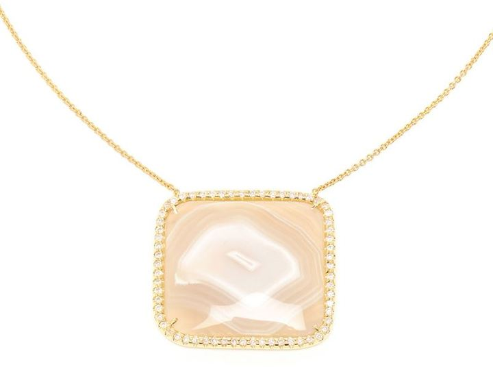 Kimberly Mcdonald agate and yellow gold pendent necklace