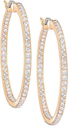 Swarovski Rose Gold-Tone Pave Hoop Earrings