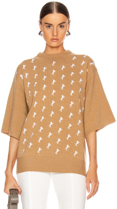 Chloé Embroidered Horse Sweater in Coffee Brown | FWRD