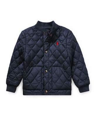 Ralph Lauren Quilted Baseball-Collar Jacket, Size 5-7