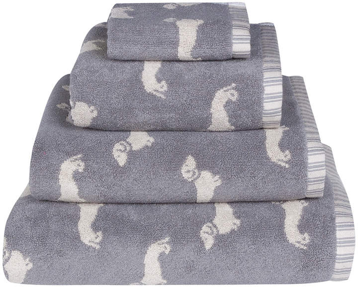 Emily Bond - Grey Dachshund Jacquard Towel - Face Towel