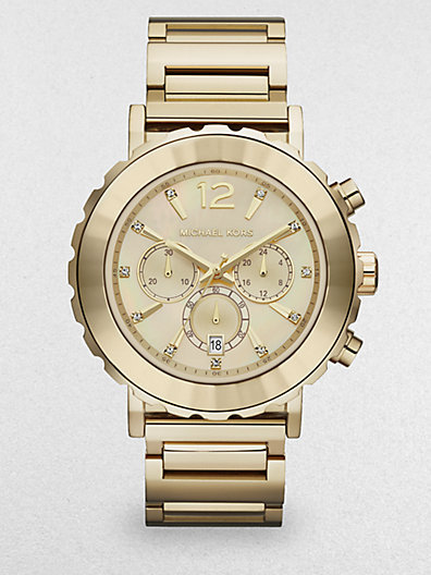 Michael Kors Crystal & Goldtone Stainless Steel Chronograph Watch