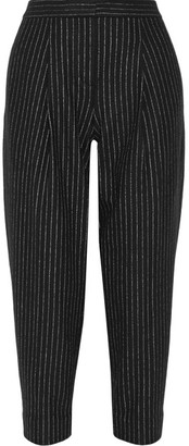DKNY - Cropped Pinstriped Wool-blend Tapered Pants - Black $550 thestylecure.com