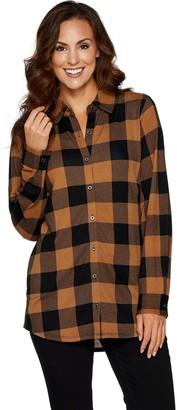 Denim & Co. Heavenly Jersey Buffalo Plaid Button Front Tunic Top