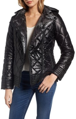 Women's Guess Reversible Packable Asymmetrical Quilted Jacket $138 thestylecure.com