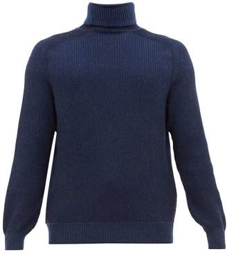 Sease - Dinghy Reversible Ribbed Cashmere Sweater - Mens - Navy Multi