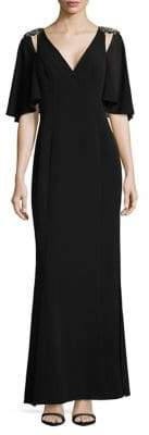 Vince Camuto Beaded Shoulder Gown