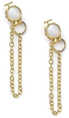 Chicco Zoë 14K Yellow Gold Draped Chain and Opal Stud Earrings