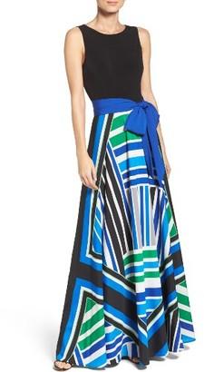Women's Eliza J Scarf Print Jersey & Crepe De Chine Maxi Dress $158 thestylecure.com