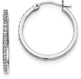 Mystique Jewels By Lux Sterling Silver Diamond Round Hoop Earrings