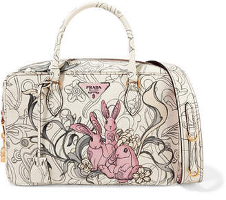 Prada Bauletto Printed Textured-leather Tote - White