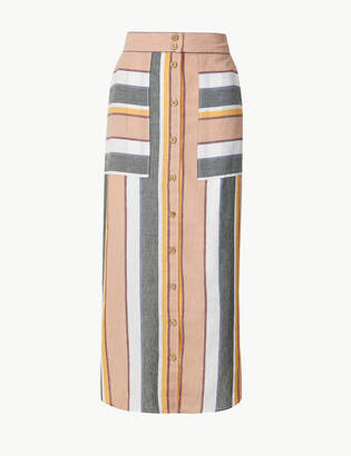 Marks and Spencer Linen Rich Striped Pencil Midi Skirt